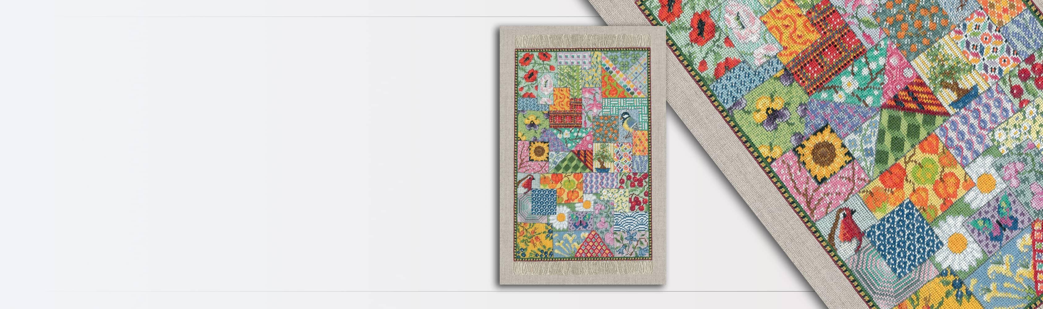 Tapis miniature Patchwork. Kit broderie petit point, point compté. 3669 Le Bonheur des Dames