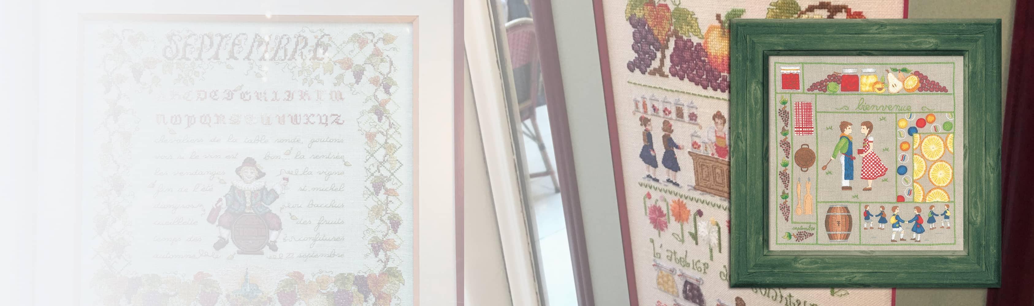Bienvenue Septembre - broderie traditionnelle, kit imprimé. Le Bonheur des Dames 7709 Création Cécile Vessière