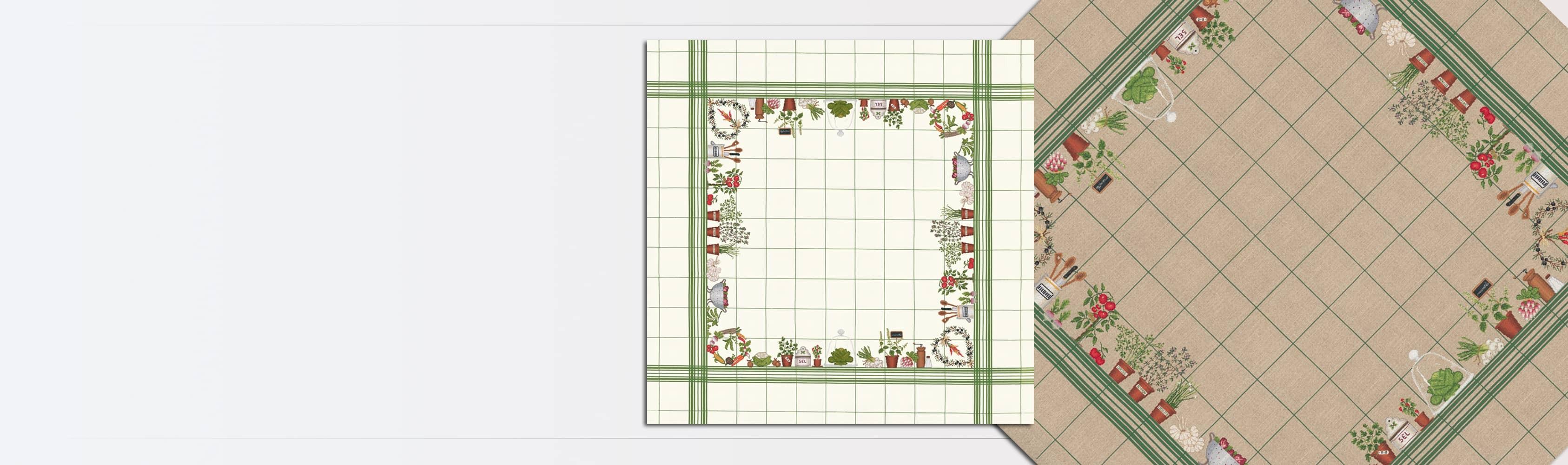 Nappe Légumes sur lin blanc avec quadrillage vert. Kit broderie point de croix, point compté. Le Bonheur des Dames