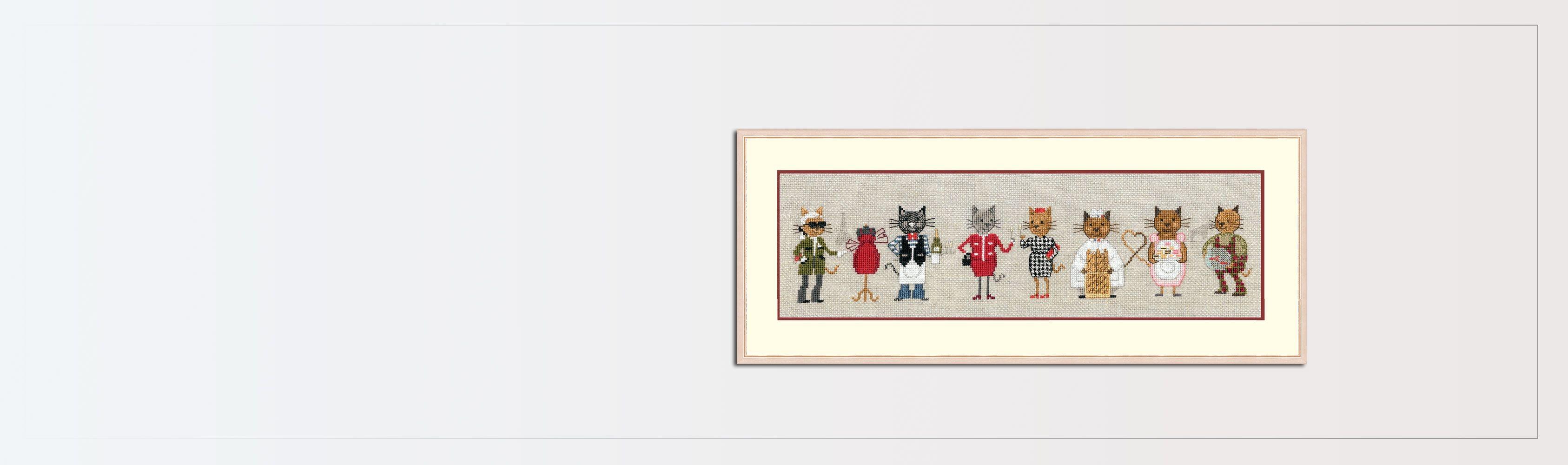Parisian cat frieze. Corss stitch kit, Aida support. Le Bonheur des Dames