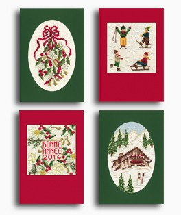 Four cross stitch designs for greeting cards. Cards with apertures and envelops inclued. Le Bonheur des Dames n° 7535