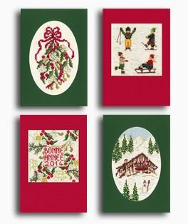 Quatre modèles point de croix pour cartes de vœux. Cartes avec passe-partout et enveloppes inlcus. Le Bonheur des Dames. 7535