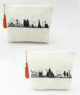 Pochettes. Left bank and Right bank. Petit point. Tent stitch embroidery. Le Bonheur des Dames n° 9028 et 9029