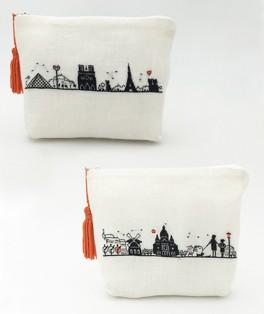 Pochettes. Left bank and Right bank. Petit point. Tent stitch embroidery. Le Bonheur des Dames n° 9028 et 9029