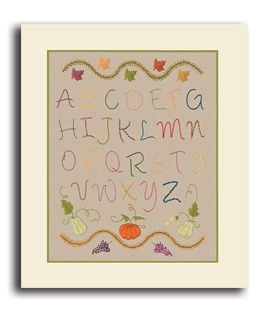 Autumn Alphabet. Printed kit. Satin stitch embroidery. Le Bonheur des Dames. 2592